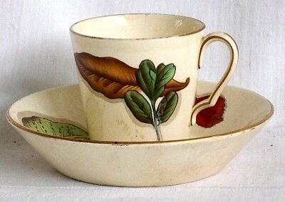 C19Th Wedgwood Hand Painted Creamware Cup And Saucer With Leaves