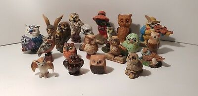 Lot statue figurine 20 chouettes hiboux collections superbe