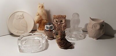Lot statue figurine 8 chouettes hiboux collections cendrier superbe