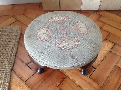 Old Footstool Tapestry Cover Large Solid Mahogany