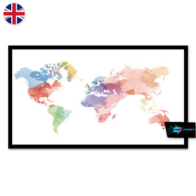 Watercolour World Map Poster Print A4 A3 Wall Art Decor Fashion Pretty 1403