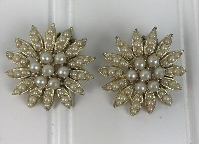 Vintage Clip On Flower Earrings Faux Pears Cluster Gold White