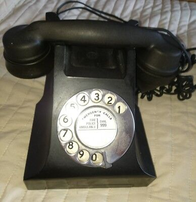 Old Vintage Bakerlite Rotary Phone Telephone Black