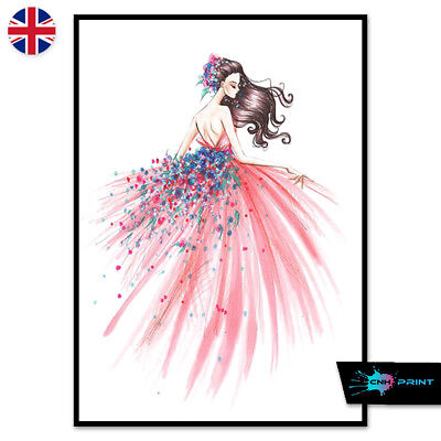 Pink Fashion Dress Poster Print A4 A3 Wall Art Decor Art Woman Dress Salon 1415
