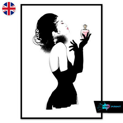 Black Dress Perfume Fashion Art Poster Print A4 A3 Wall Art Decor Woman 1417