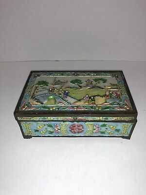 Vintage Footed Chinese Brass Enamel & Wood Cigarette Box