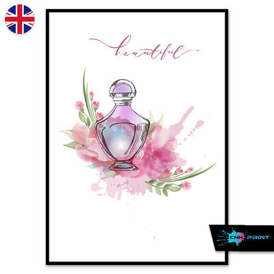 Pink Floral Perfume Poster Print A4 A3 Wall Art Decor Salon Beautiful 1446