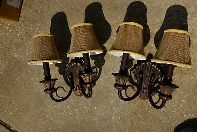 Set of Victorian style wall sconces with light shades