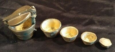 Antique Five Piece Nested Cup Weight for Apothecary, Hand Made