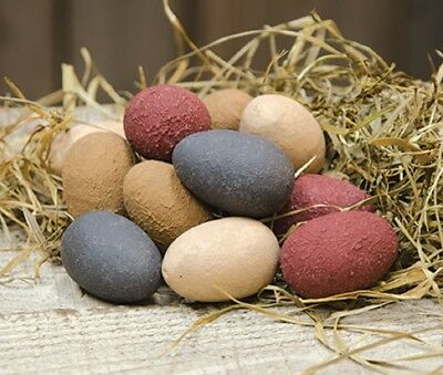 """Set of12 Wood eggs 1.5"""" Farmhouse Painted Primitive Country Faux Spring Easter"""