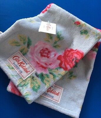 Set Of 2 ~ Cath KIDSTON Antique Rose Duck Egg Wash Mitts - BNWT Last One