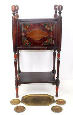 c1926 IDEAL Copper Lined Cigar Tobacco Humidor Smoking Stand & Ashtray Set