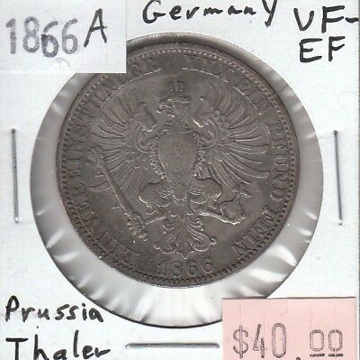 German States Prussia Thaler 1866 A VF Very Fine