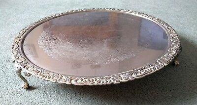 Queen Anne Style Cake Serving Tray -  Silver Plated