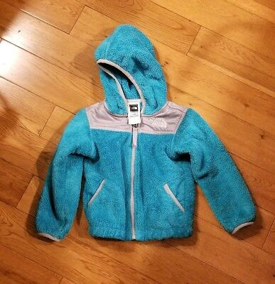 EUC toddler 2T THE NORTH FACE blue gray OSO soft FLEECE hooded zip-up jacket