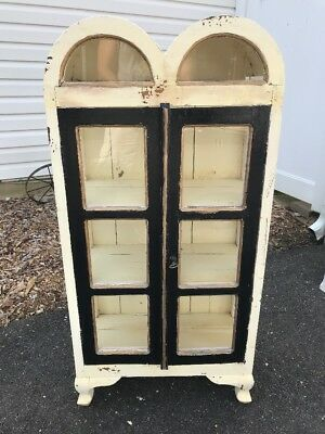 "Vintage Curio Cabinet  "" SHABBY CHIC "" Distressed Look Hutch Cabinet"