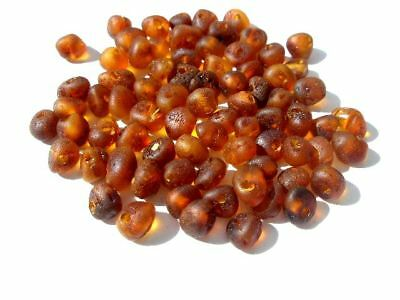 NATURAL ROUND RAW BALTIC HOLED AMBER LOOSE 70 BEADS + 1 plastic screw clasp