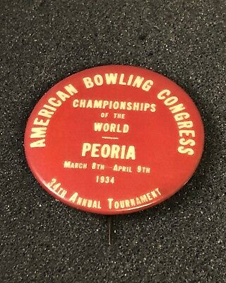 1934 arched var.  American Bowling Congress Tournament Pin Pinback Button Medal