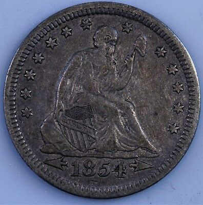 1854 With Arrows Philadelphia Mint Silver Seated Liberty Quarter XF+ AU