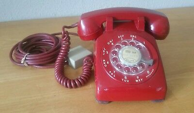 Vintage AT&T Red Rotary Dial Desk Phone Telephone  PhoneJack Cord