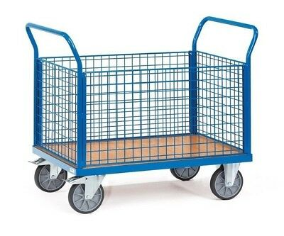 Warehouse Trolley Cage Platform Truck A Fetra 4 Sided Mesh - Model 1552 in Blue