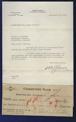 Mayo Clinic 1939 Signed Letter With Canceled Check From Steelville Missouri