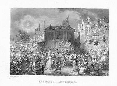 1840 - Amsterdam Karneval Holland engraving Rouargue gravure Stahlstich