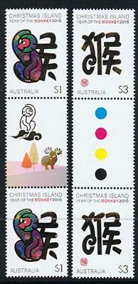 STAMPS AUSTRALIA  CHRISTMAS ISLAND 2016 Year of the MONKEY GUTTER   (MNH) xx1
