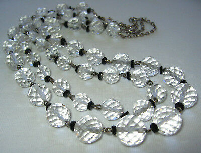 Old Vintage Antique Art Deco 2 Row Crystal Glass Beads Chain Links Necklace