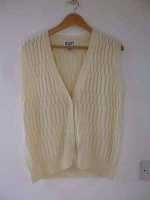 Unbranded  wool blend cable knit  sleeveless cardigan/waistcoat  size L