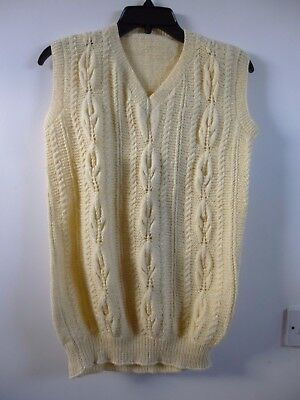 Unbranded hand knitted cable knit  sleeveless cardigan/waistcoat  size S/M