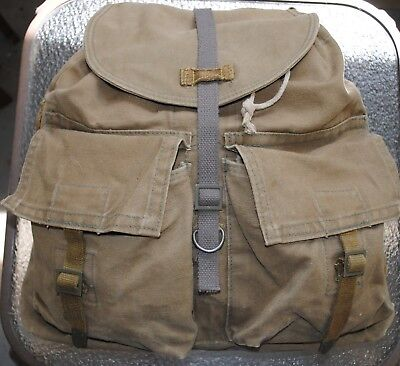 Vintage Czech Military Canvas Rucksack Tan Marked 4141-0050-GA & Crossed Swords