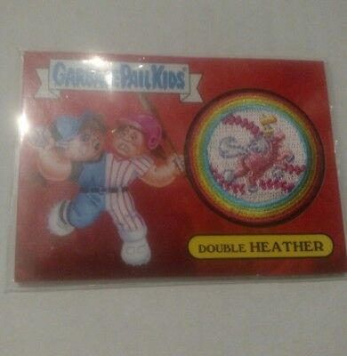 2015 Topps Garbage Pail Kids GPK Series 1 Patch Card Double Heather 1 of 10