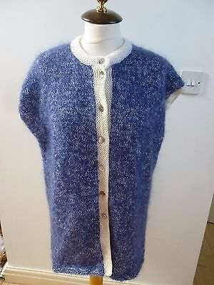 Unbranded vintage hand knitted wool  fluffy sleeveless cardigan/waistcoat  XL