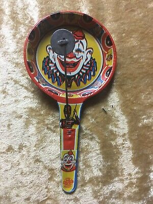 Lithographed Clown Tin Holiday Halloween Rattle Noisemaker, circa 1960