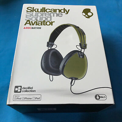 New  Skullcandy Aviator Headphones with Mic3 - Olive ✔Ships Same Day For Free!
