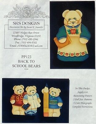 """Susan Stamilio vintage tole painting pattern """"Back To School Bears"""""""