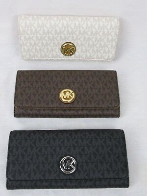 8809d0c145ae Michael Kors Signature Pvc Fulton Flap Continental Wallet Carryall Choose  Color
