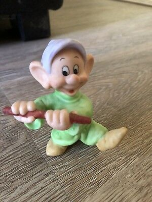 "3"" DOPEY w FLUTE Ceramic Bisque Figurine SRI LANKA Disney 7 DWARFS - With Tag"