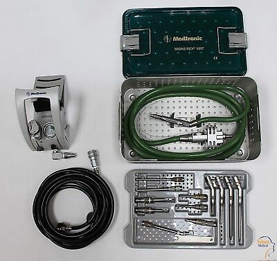 Medtronic Midas Rex MR7 TOUCH PM710 Pneumatic Drill Set with 12 Attachments