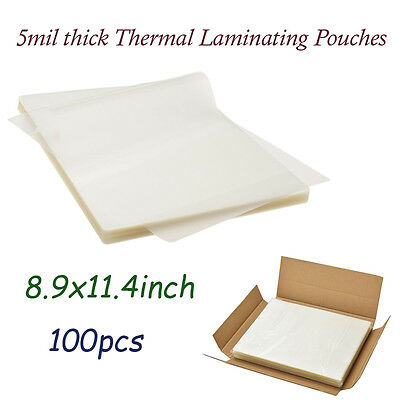100 Clear Letter Size Thermal Laminator Laminating Pouches 9 X 11.5 Sheets 5 Mil