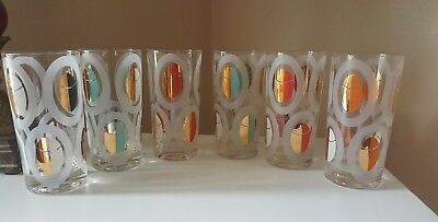 Set Of 6 Vintage Fred Press Mid Century Glasses Tumblers