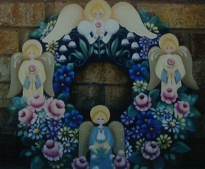 """Rosemary West tole painting pattern """"Angel Floral Wreath"""""""