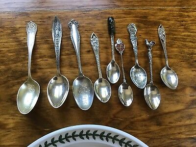9 piece STERLING SILVER Mixed LOT Souvenir spoons Figural Rooster Oranges Watson