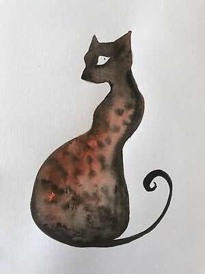Free Post. The Embers Within. Cat Painting. Original Sienna Mayfair A4 Artwork