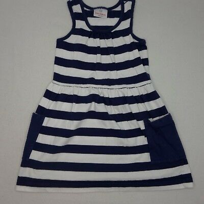 5cc900cb52c Hanna Andersson Girls Size 110 US 5 Play Dress White Blue Striped Cotton EUC