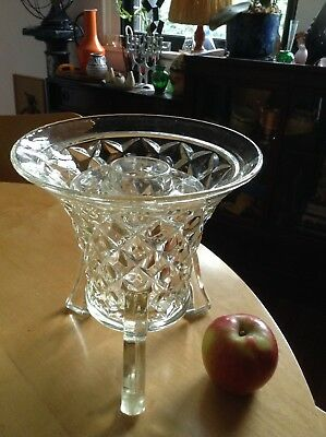 Vintage Art Deco LARGE Glass 3 Footed Vase. Retro 1920's to 1950's.