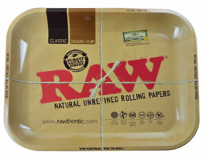 AUTHENTIC RAW ORIGINAL Classic Cigarette Tobacco Metal LARGE Rolling Tray 14x11