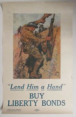 Original 1918 WWI Poster LEND HIM A HAND BUY LIBERTY BONDS Leslie Magazine 12x19