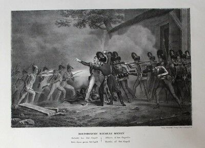 1820 - Battle of Oostkapelle Zeeland Holland Lithographie litho